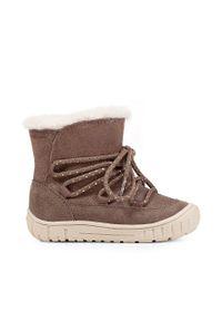 Szare buty zimowe Geox z okrągłym noskiem, na zamek, z cholewką
