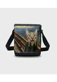 MegaKoszulki - Torba na ramię mała Cat Scream Paint. Wzór: paski, nadruk