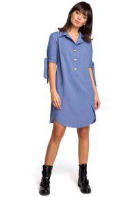 MOE - Niebieska Koszulowa Sukienka Tunika z Wiązaniem na Rękawach. Kolor: niebieski. Materiał: len, poliester. Typ sukienki: koszulowe
