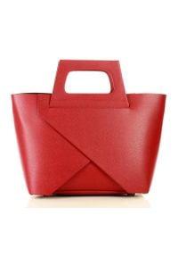 GENUINE LEATHER - MARCO MAZZINI Oryginalna torebka do ręki shopper basket czerwień malinowa. Kolor: różowy, czerwony, wielokolorowy. Rodzaj torebki: do ręki