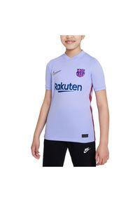 Koszulka piłkarska dla dzieci Nike FC Barcelona 2021/22 Stadium AW CV8221. Materiał: materiał, poliester. Technologia: Dri-Fit (Nike). Sport: piłka nożna