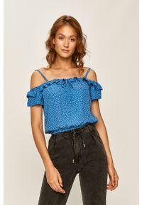 Niebieska bluzka ANSWEAR z dekoltem typu hiszpanka, na ramiączkach
