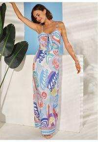 Sukienka z dekoltem halter i nadrukiem bonprix ciemnoniebiesko-jasnoniebiesko-czerwony w kwiaty. Typ kołnierza: dekolt halter. Kolor: niebieski. Wzór: kwiaty, nadruk