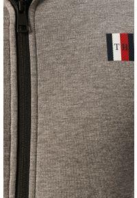 Szara bluza rozpinana TOMMY HILFIGER casualowa, z nadrukiem, z kapturem, na co dzień