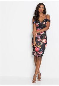 Sukienka w kwiaty bonprix czarny w kwiaty. Kolor: czarny. Długość rękawa: na ramiączkach. Wzór: kwiaty