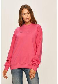 Różowa bluza Diesel bez kaptura, z aplikacjami, casualowa