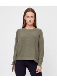 HEMISPHERE - Kaszmirowy sweter z wiązaniem. Kolor: zielony. Materiał: kaszmir. Długość rękawa: długi rękaw. Długość: długie. Sezon: jesień, zima. Styl: klasyczny