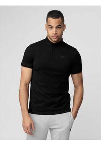 4f - Koszulka polo męska. Okazja: na co dzień. Typ kołnierza: polo. Kolor: czarny. Materiał: bawełna, jersey, materiał. Styl: casual