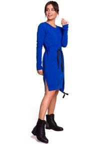 MOE - Chabrowa Casualowa Sukienka w Stylu Bluzy. Okazja: na co dzień. Kolor: niebieski. Materiał: elastan, bawełna. Styl: casual