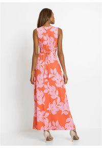 Letnia długa sukienka bonprix pomarańczowo-różowy w roślinny wzór. Kolor: pomarańczowy. Wzór: nadruk. Sezon: lato. Długość: maxi #5