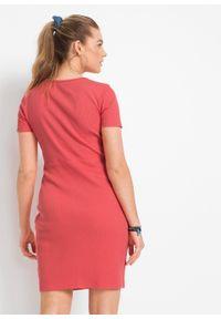 Sukienka w prążek z bawełny organicznej z ozdobnymi guzikami bonprix koralowy. Kolor: czerwony. Materiał: bawełna. Wzór: prążki