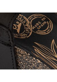 Czarne sandały Panama Jack na obcasie, na średnim obcasie