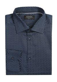 Niebieska koszula TOP SECRET biznesowa, na zimę, w kolorowe wzory, z klasycznym kołnierzykiem