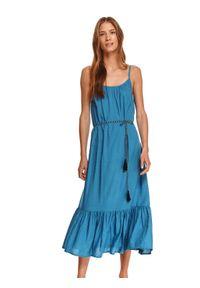 TOP SECRET - Sukienka maxi na ramiączkach. Kolor: niebieski. Materiał: dzianina. Długość rękawa: na ramiączkach. Sezon: lato. Styl: wakacyjny. Długość: maxi
