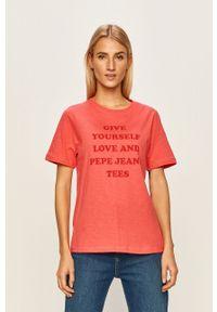 Różowa bluzka Pepe Jeans casualowa, na co dzień, z nadrukiem