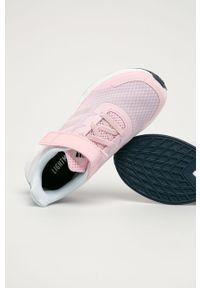 Różowe buty sportowe Adidas z cholewką, z okrągłym noskiem