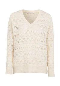 Freequent Sweter we wzory Tina złamana biel female biały M (40). Typ kołnierza: dekolt w serek. Kolor: biały. Długość: krótkie. Wzór: gładki, ażurowy