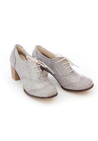 Zapato - sznurowane półbuty na 6 cm słupku - skóra naturalna - model 251 - kolor szara kratka. Kolor: szary. Materiał: skóra. Wzór: kratka. Obcas: na słupku
