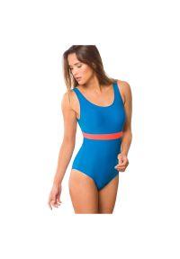 Strój kąpielowy Rontil 001. Kolor: niebieski. Materiał: dzianina, elastan, włókno, poliamid, materiał. Wzór: gładki