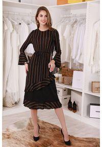 Wielokolorowa długa sukienka IVET na co dzień, w paski, z falbankami