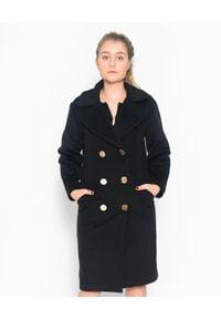 CRISTINAEFFE - Dwurzędowy czarny płaszcz. Kolor: czarny. Materiał: jeans. Styl: klasyczny