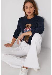 Polo Ralph Lauren - Sweter. Typ kołnierza: polo. Kolor: niebieski. Materiał: dzianina. Długość rękawa: długi rękaw. Długość: długie. Wzór: aplikacja