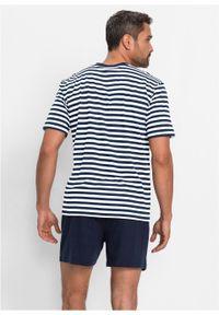 Piżama z krótkimi spodenkami bonprix ciemnoniebiesko-biały w paski. Kolor: niebieski. Długość: krótkie. Wzór: paski #2