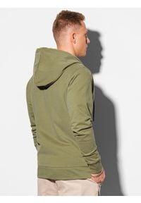 Ombre Clothing - Bluza męska rozpinana z kapturem B1145 - khaki - XXL. Typ kołnierza: kaptur. Kolor: brązowy. Materiał: bawełna. Styl: klasyczny