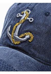 Ombre Clothing - Czapka męska z daszkiem H081 - granatowa - uniwersalny. Kolor: niebieski. Materiał: bawełna