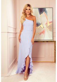 Fioletowa sukienka wieczorowa Numoco z falbankami, maxi