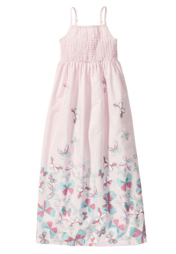 Długa sukienka dziewczęca bonprix bladoróżowy. Kolor: różowy. Długość: maxi