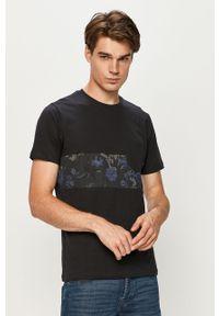 Niebieski t-shirt PRODUKT by Jack & Jones z okrągłym kołnierzem, casualowy, z nadrukiem