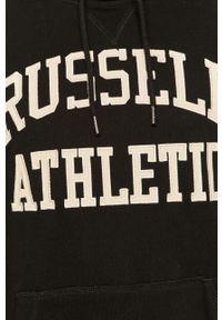 Czarna bluza nierozpinana Russell Athletic z kapturem, z nadrukiem, casualowa