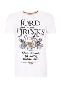 Biały t-shirt TOP SECRET z nadrukiem, wakacyjny