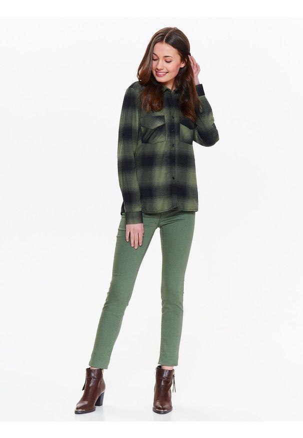 Brązowa bluzka TROLL casualowa, w kolorowe wzory, z długim rękawem, długa