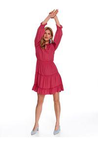 Różowa sukienka TOP SECRET casualowa, na wiosnę, z falbankami