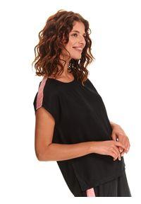 Czarna bluzka DRYWASH z okrągłym kołnierzem, sportowa, krótka