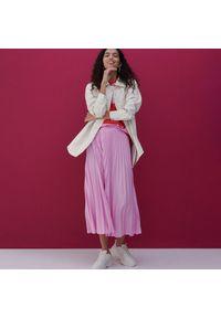Reserved - Plisowana spódnica midi - Różowy. Kolor: różowy