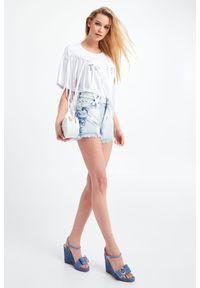Twinset Milano - SZORTY JEANSOWE TWINSET. Stan: podwyższony. Materiał: jeans. Długość: krótkie. Sezon: lato. Styl: klasyczny, rockowy #4