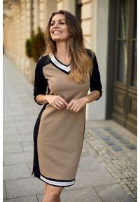 e-margeritka - Sukienka wizytowa do kolan - 46. Okazja: do pracy. Materiał: nylon, wiskoza, materiał, elastan. Styl: wizytowy. Długość: midi