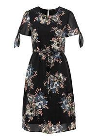 Czarna sukienka mini Happy Holly z krótkim rękawem
