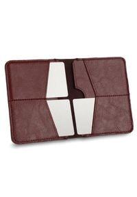 Solier - Cienki skórzany męski portfel SOLIER SW10 SLIM bordowy. Kolor: czerwony. Materiał: skóra