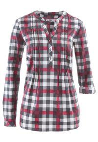 Tunika bluzkowa, długi rękaw bonprix bordowy w kratę. Kolor: czerwony. Długość rękawa: długi rękaw. Długość: długie