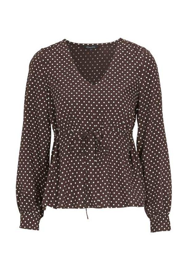 Brązowa bluzka Happy Holly w kropki, z dekoltem w serek