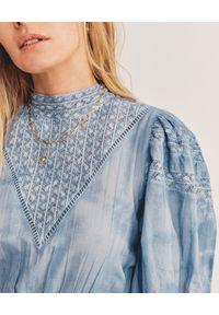LOVE SHACK FANCY - Niebieska sukienka Viola. Kolor: niebieski. Materiał: koronka, bawełna. Sezon: wiosna. Typ sukienki: rozkloszowane