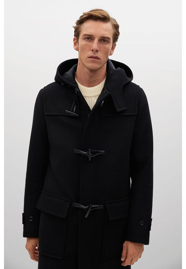 Czarny płaszcz Mango Man z kapturem, casualowy, na co dzień