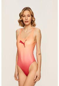 Różowy strój kąpielowy Puma z nadrukiem