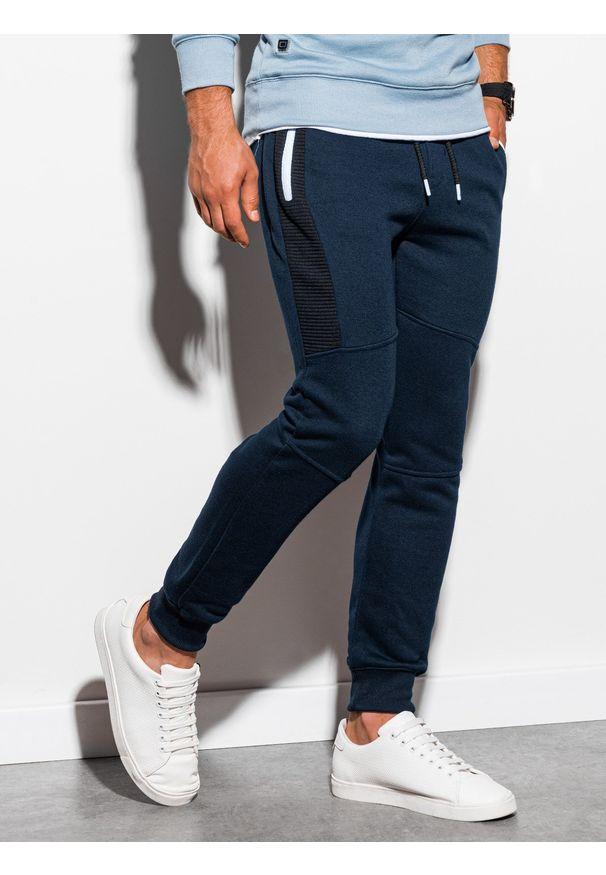 Ombre Clothing - Spodnie męskie dresowe joggery P903 - granatowe - XXL. Kolor: niebieski. Materiał: dresówka