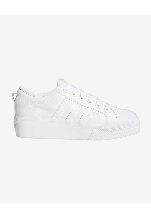 Białe tenisówki adidas Originals z okrągłym noskiem, na platformie, w kolorowe wzory, na sznurówki