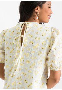 Sukienka z koronką bonprix biel wełny - żółty w kwiaty. Kolor: biały. Materiał: koronka, wełna. Długość rękawa: na ramiączkach. Wzór: kwiaty, koronka. Styl: elegancki